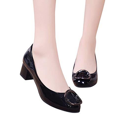 Donna Moda Solido Pelle In Quadrato Mocassino Theshy Nero Loafers Slip On Eleganti Singole Casual Comode Sandalo Mocassini Tacco Donne Scarpe Shoes daavqwP