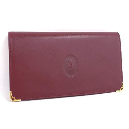 【中古】 カルティエ 二つ折りがま口式長財布 マストライン ボルドー   B07K8JMRFZ