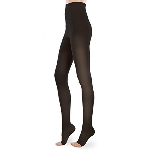 Womens Sheer Moderate Support Pantyhose (Sheer Ease Women's Open-Toe Support Pantyhose - 20-30mmHg Moderate Compression Nylons (Black, Medium Long))