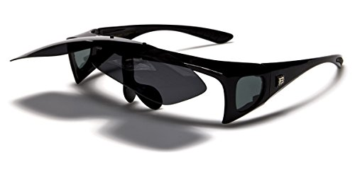 Polarized Flip Up Fit Over Sunglasses with Side Shields
