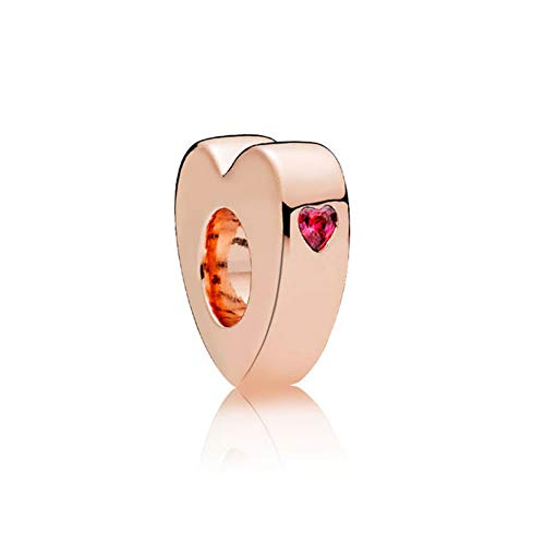 Romántico Amor Two Hearts Spacer Charm Rose Gold Red CZ 925 Sterling Silver Bead for Pandora Bracelet