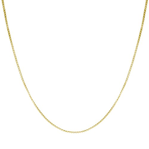 Box Chain Necklace Solid Gold (14K Solid Yellow Gold 0.7mm Box Chain Necklace (20 Inches))