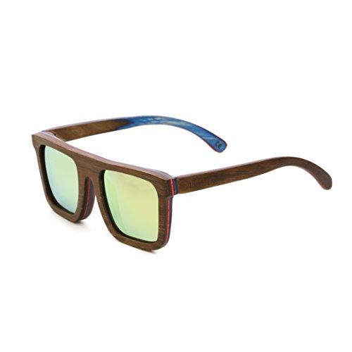 Mini Tree Wood Sunglasses Men Polarized Wayfarer Sun Glasses for Women Skateboard Shades with Bamboo case SW150 (Coffee, King) (Womens Sunglasses Mini)