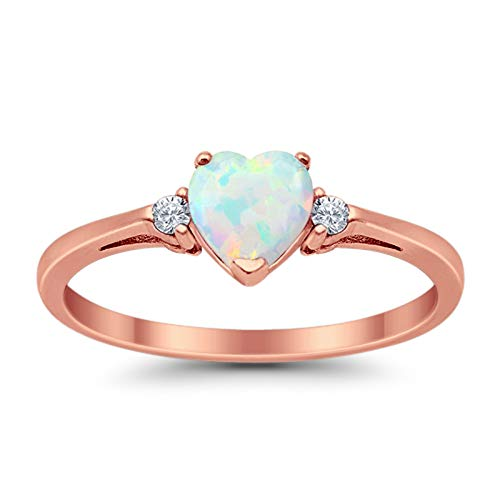 925 Sterling Silver Promise Ring Rose Tone Rhodium PL Heart shape Lab Created White Opal round Clear CZ accent