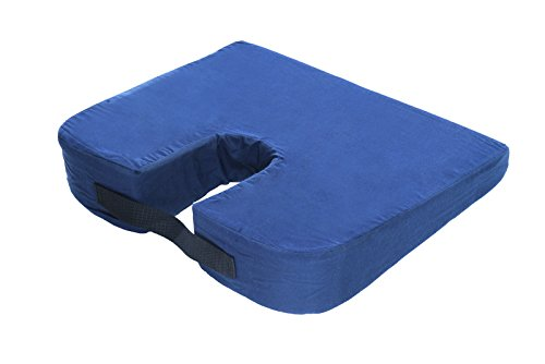 Essential Medical Supply Sloping Bucket Seat Car Cushion with Coccyx Cut Out, Navy