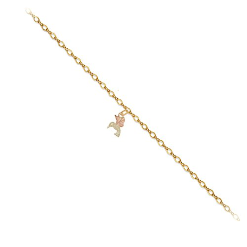 Black Hills Gold 10k Yellow Gold, 12k Green and Rose Gold Hummingbird Anklet, 11