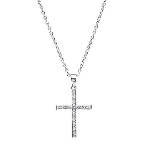 (Dazzlingrock Collection 0.10 Carat (ctw) 10K Round Diamond Ladies Cross Pendant 1/10 CT (Silver Chain Included), White Gold)