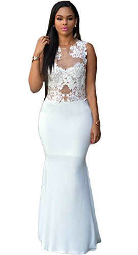 Womens Sexy Lace Crochet See Through Party Clubwear Cocktail Mermaid Maxi Dress White L (White Dress For Teenager)