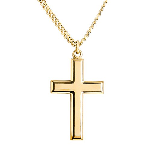 High Polish Cross Necklace (Classic High Polish Cross 14 Karat Gold Filled Pendant for Men + 24 Inch Gold Plated Endless Chain)