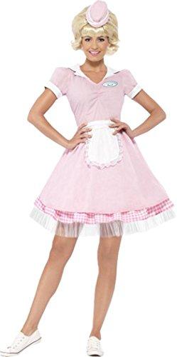 50's Diner Girl Costume Pink Uk Dress 12-14