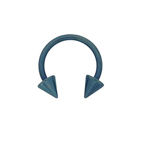 Piercing Anneau Fer à Cheval Acier Anodisé Bleu Marine Pointe Spike 1.2x10mm