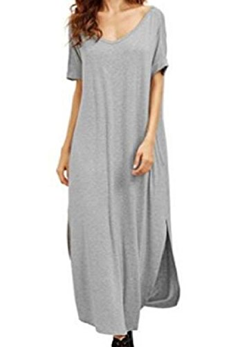 Cut Pocket Dresses Beachwear Women V Out Coolred Unique Hem Neck Line Backless Grey Aq4pwI