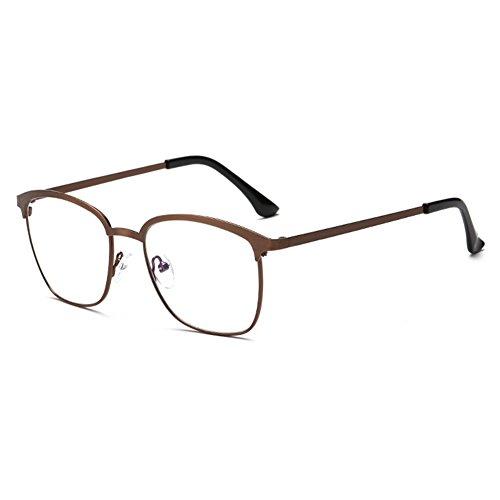 Verres de lumière anti-bleus unisexes - lunettes de cadre en métal Verres de lunettes anti-buée claires avec étui à lunettes - hibote Café