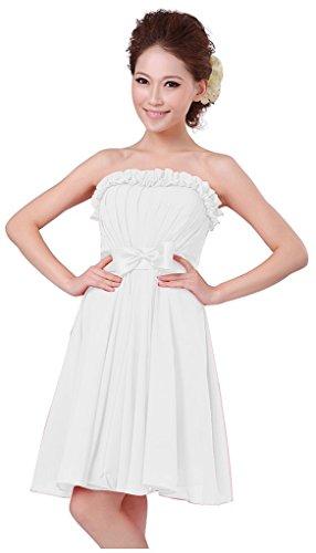 Kurz Junior Brautjungfer drasawee Kleid Weiß Chiffon Kleider Heimkehr Ball Trägerlos Party 0xaRf