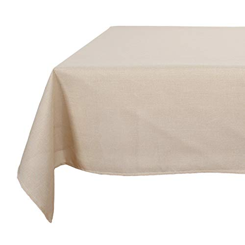 Deconovo Decorative Wrinkle Resistant Faux Linen Square Beige Tablecloth for Dining Room 54x54 Inch Beige