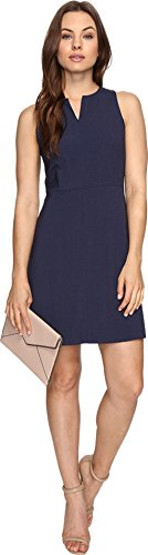 kensie Women's Heather Stretch Crepe Dress, Navy, L