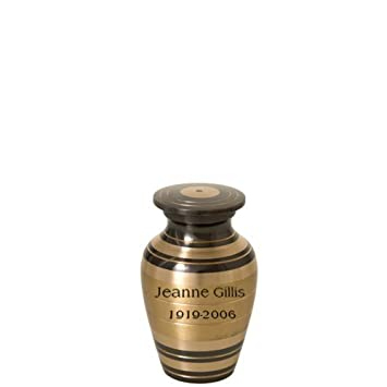 Memorial Gallery Custom Engraved Black and Brass Striped Cremation Urn 3 , Engraved