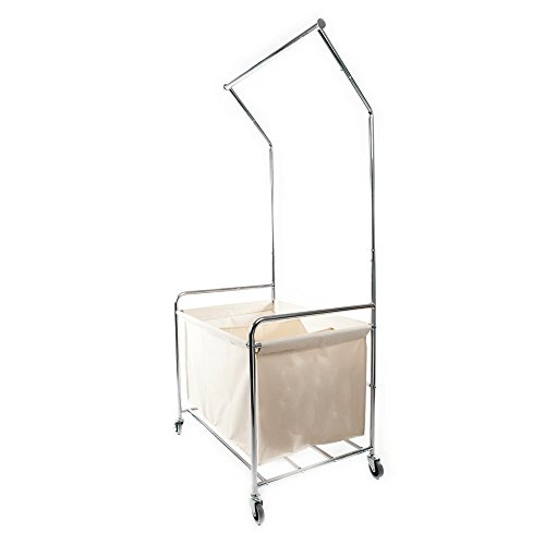 Bonnlo Mobile Laundry Sorter with Hanging bar 3-Bag Laundry Hamper with Clothes Rack/Beige