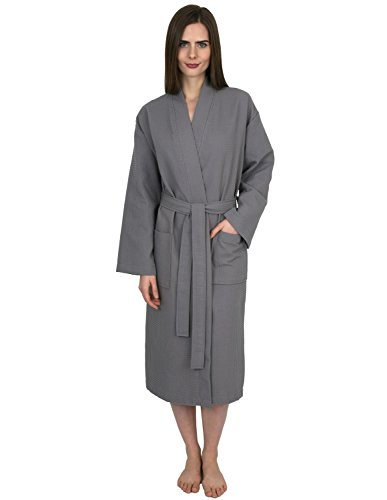 (TowelSelections Women's Robe, Kimono Waffle Spa Bathrobe Small/Medium Wild Dove)