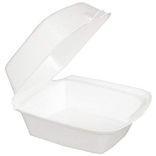 Dart 60HT1, 6x6x3-Inch Performer White Rectangular Sandwich Foam Container With A Hinged Lid, Carryout Food Disposable Snack Containers (125)