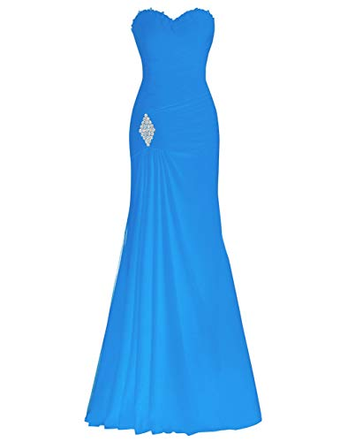 Mermaid Evening Blue Bridal Women's Ocean Chiffon Lace Bess up Beaded Prom Dress Party TE1wq