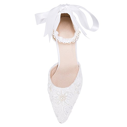 Style Shoes Lace Ribbon Fashion Prom Kevin White Evening Womens D Bridal Party Wedding orsay Pumps ZMS1521 Xx160R
