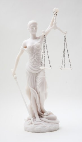 Things2Die4 Desktop Lady Justice Marble Finish Statue Justicia Law Scale