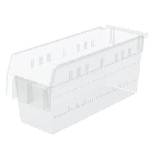 Akro-Mils 30868 ShelfMax 8 Plastic Nesting Shelf Bin Box, 18-Inch x 6-Inch x 8-Inch, Clear, 10-Pack by Akro-Mils