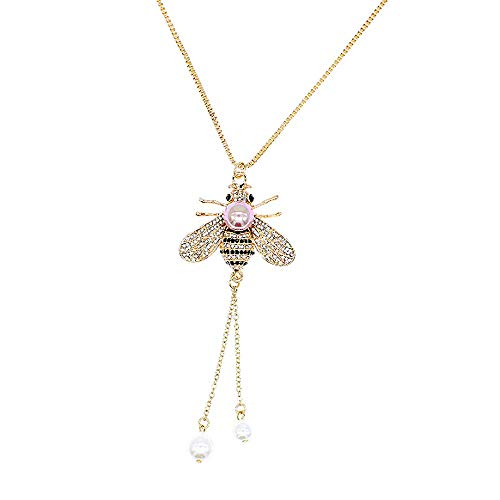 (TULIP LY Honey Bee Necklace Crystal Insect Themed Bee Necklace Animal Fashion Shell Pearl Long Necklaces Gold Tone for Women Gril Jewelr(Light Purple Pearl Necklace))