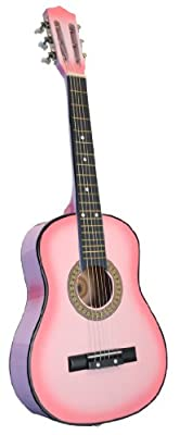 "32"" Inch 1/2 Half Size BLACK Kids Acoustic Toy Guitar & DirectlyCheap(TM) Translucent Blue Medium Guitar Pick"
