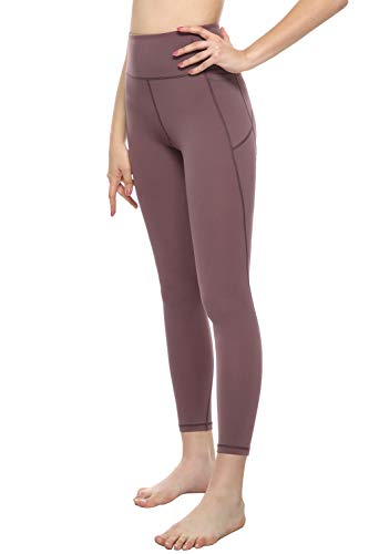 MOYOOGA High Waisted Yoga Leggings with Phone Pockets Workout Capri Yoga Pants for Women Athletic Gym Tights Tummy Control Compression (M, Dusty Red)
