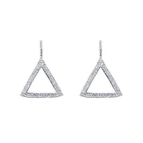 Triangle Vermeil Earrings - Luxury Mini Rhinestone Shiny Tower Shape Diamond Vermeil Earrings, Geometric Large Gold, Sliver Triangle Women Jewelry (Silver)