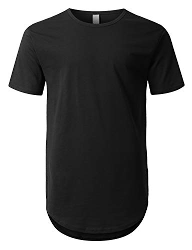 URBANCREWS Mens Hipster Hip Hop Basic Drop Tail Longline T-Shirt Black, XL