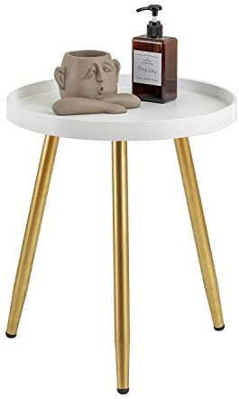 """MHKanS Round Side Table 18"""" H x 15""""D Accent Table Nightstand Coffee Table White Wooden Tray Table with Gold Metal Stand End Table for Living Room Bedroom Office Small Spaces (White & Gold)"""