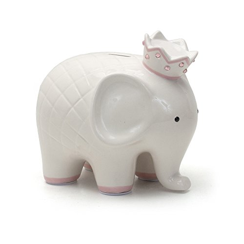 Child to Cherish Ceramic Coco Elephant Piggy Bank for Girls, Pink (Girl Baby Piggy Bank)
