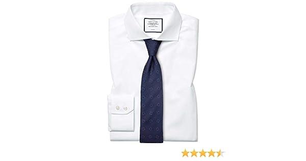 Camisa sin Plancha Blanca de Popelina y Corte clásico con Cuello Italiano: Amazon.es: Ropa y accesorios