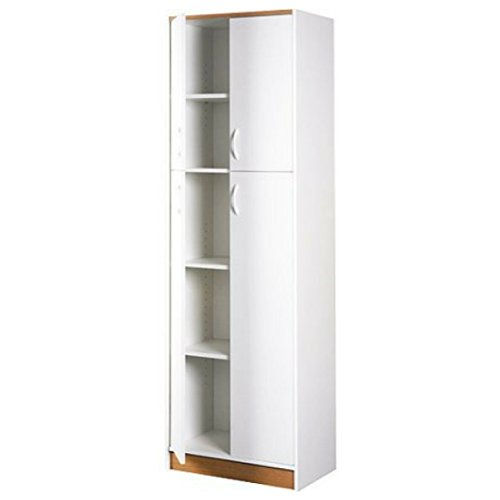 Contemporary Durable Design 4-Door 5-Shelves White Kitchen Pantry by 0rion