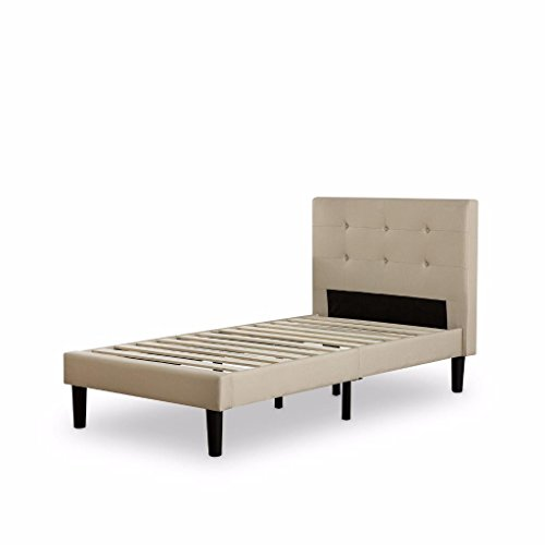 Zinus Upholstered Square Stitched Platform Bed with Wooden (Twin Tufted Bed)