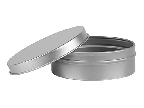 Nakpunar Tin Containers (4 oz Solid Top - Round, Silver)