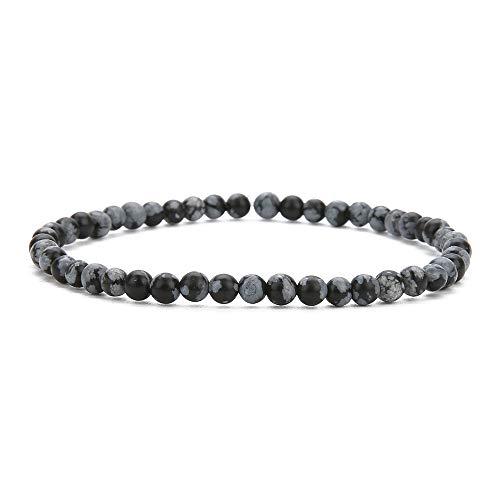 BALIBALI 4MM Mini Gemstone Energy Bracelets Tiny Bracelet Natural Stone Statement Bracelet Charm Beaded Couples Bracelets (Snowflake Obsidian)