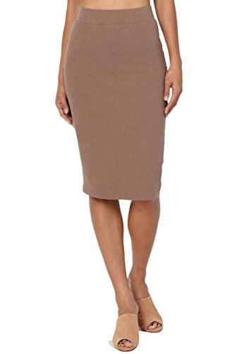TheMogan Women's Stretch Cotton Elastic High Waist Pencil Midi Skirt Mocha 1XL ()