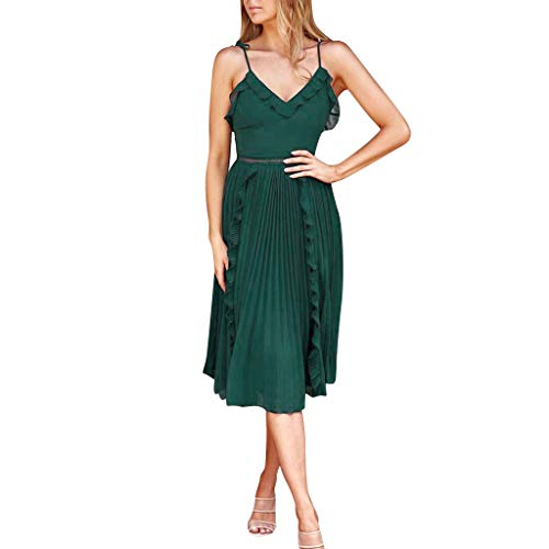 Sunhusing Women's Chiffon Solid Color Spaghetti Sling Ruffled V-Neck Pleated Large Flowy Hem Princess Dress Green