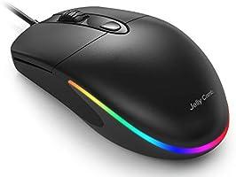 Jelly Comb Beleuchtete Maus mit Kabel, Kabelgebundene leise Gaming Maus mit RGB Beleuchtung, 4 Tasten, 1600 DPI Optische...