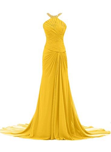 ivyd ressing Mujer Elegante Funda de línea croma gasa Prom vestido pelota para vestido de noche dorado