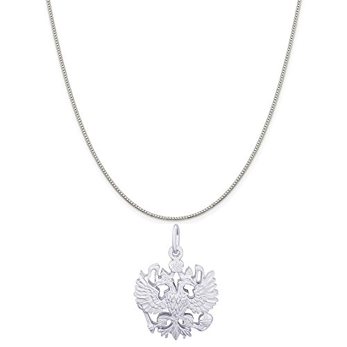 Rembrandt Charms 14K White Gold Russian Eagle Charm on a 14K White Gold Box Chain Necklace, 20'' by Rembrandt Charms