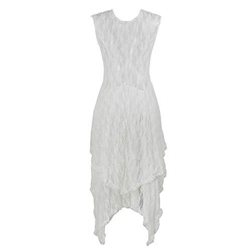 Mujer Volantes Corte Manga De Corta Fiesta Encaje Doble Popular Blanco Con Para Irregular Vecdy Elegante Largo 2019 Vestido Capa Boho AOtwqt