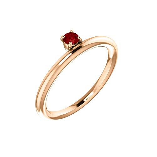 - Bonyak Jewelry Lab-Created Ruby 14k Rose Gold Chatham Created Ruby Ring - Size 7