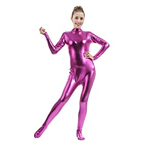 Ensnovo Womens Shiny Metallic Zentai Suit Wetlook Spandex Turtleneck Unitard Fuchsias