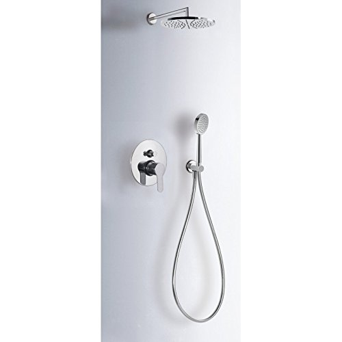 Tres grifería 117175 Shower Mixer Tap kit equipped, 225 mm doccia, Anti-Limescale Shower 100 mm, flexo satin.
