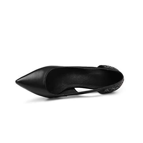 Mms06534 De Uretano Negro Tachuelas Con Para Zapatos Tacón Mujer 1to9 dqInExHwd